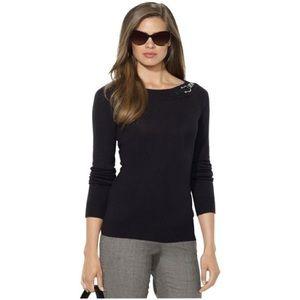 NEW Ralph Lauren Buckle Boat Neck Black Sweater L
